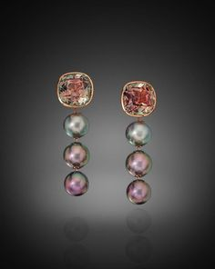 A Pair of Long Drop-Style Earrings featuring 6 Tahitian Pearls, 10 and approximately 25 carats of Bicolor Tourmaline. Set in Rose Gold. Big Gold Hoop Earrings, Black Diamond Earrings, Bar Stud Earrings, Rose Gold Earrings, Pearl Jewelry, Fine Jewelry, Jewellery, Wedding Jewelry, Tahitian Pearls