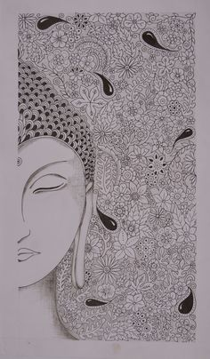 Buy Buddha In Zentangle Style Painting at Lowest Price by Ajay Kumar Thakur Buddha Artwork, Mandala Artwork, Mandala Painting, Doodle Art Drawing, Mandala Drawing, Mandala Doodle, Buddha Drawing, Madhubani Art, Madhubani Painting