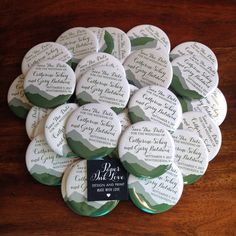 Mountain wedding save the date magnets, handmade by Paper Ink Love.