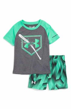 Under Armour Breaking Bat T-Shirt & Shorts Set (Baby Boys) - Beaux Thomas Baker Jr - Kids Style Little Boy Outfits, Teenage Girl Outfits, Little Boy Fashion, Toddler Outfits, Baby Boy Outfits, Outfits For Teens, Toddler Fashion, Girl Fashion, Baby Boys