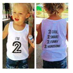 "Birthday shirts for your Two year old! ""I'm 2"" - custom graphic tank tops, tee shirts or onesies for your little ones. www.littlebeansclothing.com #graphictees #birthdayshirts #twoyearold"