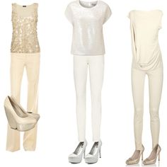 Casual ideas for a low key New Years Eve - notice the lack of jewelry, let the sequin tops and shoes do the talking :)