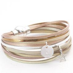 Bracelet en cuir multiliens avec étoile