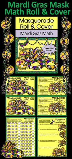 Masquerade Mask Roll & Cover Mardi Gras Math Activity Packet: Give your students a fun and festive way to practice addition in series in a hands-on way!  Mardi Gras Mask Roll & Cover Includes: * Student Work Mat * Instruction Set * Student Record Sheet * Student Observation Sheet  #Mardi #Gras #Carnival #Mask #Masquerade #Math #Activities #Teacherspayteachers