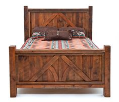 "We call this beautiful new barn wood bed ""Post & Beam"" as the design on the headboard and footboard resemble a post and beam truss seen in log and timber frame style homes.  Some of our staff thought the design resemble an arrow and thought we should call it the ""North Arrow"" design.  The name"