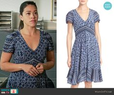 Rebecca Taylor Short Sleeve Print Silk Dress worn by Gina Rodriguez on Jane the Virgin Fashion Tv, Look Fashion, Fashion Beauty, Fashion Outfits, V Neck Dress, Silk Dress, Gina Rodriguez, Jane The Virgin, College Fashion