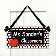 personalized teacher name classroom door sign  white by kasefazem