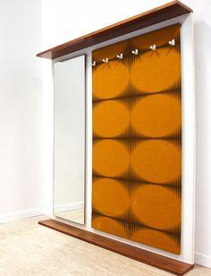 Garderobe Spiegel Hutablage 60er Midcentury Design Teak Rockabilly