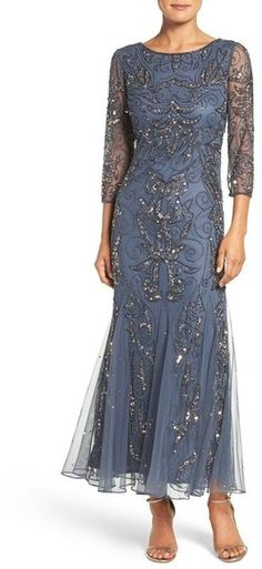 online shopping for Pisarro Nights Embellished Three Quarter Sleeve Gown (Plus Size) from top store. See new offer for Pisarro Nights Embellished Three Quarter Sleeve Gown (Plus Size) 1920s Evening Dress, Formal Evening Dresses, Formal Gowns, Elegant Dresses, Evening Gowns, Winter Dresses, Formal Wear, Mother Of Bride Outfits, Mother Of Groom Dresses