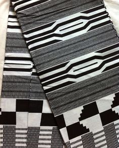 Black and white kente fabric, abstract design, monochrome print