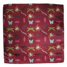 Twisted Linings Victoriana Pocket Square: Victoriana' pocket square from new jacquard linings brand 'Twisted Linings'  -A bug covered red jacquard pocket square  -Team with a Gresham Blake jacket/suit and/or the matching Twisted Linings Tie