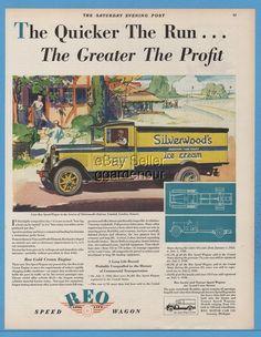 1929 REO Speed Wagon Ice Cream Truck Silverwood's Dairies London ON Canada Ad