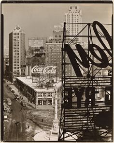 "Columbus Circle Feb. 10, 1938--Berenice Abbott's ""Changing New York"" WPA series with about 80 percent of the photos in that series are in The New York Public Library's Miriam and Ira D. Wallach Division of Art, Prints and Photographs."