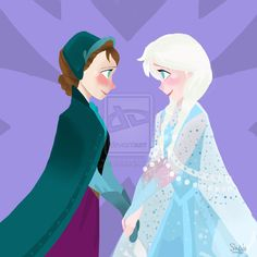 Anna the Snow Princess and Queen Elsa of Arendelle by SandButterbeer.deviantart.com on @deviantART