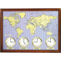 ساعة حائط خشبية لتوقيت العالم ماركة