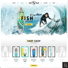 Cali Surf Shop by DrawingArt 👉 us ➡ for daily web design inspiration. Cali, Wordpress, Surf App, Ux Design, Branding Design, Logo Branding, Graphic Design, Fish Surfboard, Creation Site