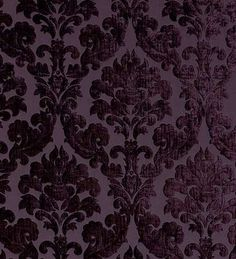 Flocked Damask Wallpaper ~ Aubergine