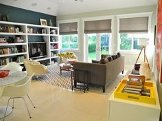 Family Room Open Concept Living Room Kitchen Design, Pictures, Remodel, Decor and Ideas - page 12 Blue Accent Walls, Teal Walls, Lacquer Furniture, Furniture Design, Furniture Ideas, Living Room Kitchen, Living Room Modern, Living Rooms, Modern Window Coverings