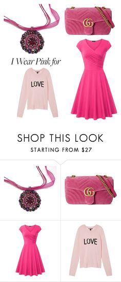 Save the ta-tas by creativeobsession on Polyvore featuring Victoria's Secret, Gucci, breastcancerawareness and IWearPinkFor
