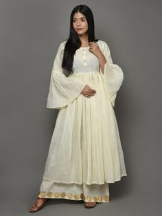 Off White Cotton Anarkali Kurta With Bell Sleeves