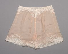 Pale pink silk chiffon knickers with appliqué lace trim, attributed to Herminie Cadolle, French, early 20th C.