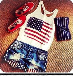 american flag top and shorts