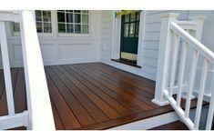 Pressure-Treated Pine Deck with Dark Oak Tone Sealer Deck Stain And Sealer, Wood Deck Stain, Best Deck Stain, Deck Stain Colors, Deck Colors, Fence Stain, Staining Pressure Treated Wood, Dark Deck, Front Porch Deck