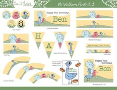 Mo Willems Theme Birthday Party Printable Set by CiciandBobos Birthday Games, Dog Birthday, 1st Birthday Parties, Birthday Ideas, Piggie And Elephant, Party Kit, Party Ideas, Mo Willems, Happy Birthday Banners