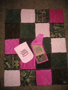READY TO SHIP -Set- Mossy Oak Camo cotton, Dark Pink and Light Pink Minky, Hunter Green Minky and Brown Minky Raggy Quilt and 2 Burp Cloths on Etsy, $98.00