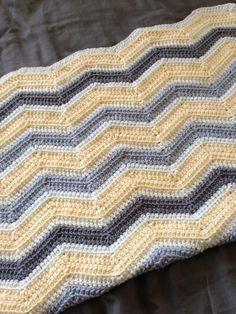 Chevron Crochet Baby Blanket Yellow Grey by ChevronChicBoutique, $65.00