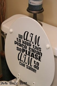 Hopefully easy to clean :?/ a Little Toilet Art with Vinyl Vinyl Designs and Supplies from stakersensations by Shannon Silhouette Cameo Machine, Silhouette Vinyl, Silhouette Cameo Projects, Diy Vinyl Projects, Vinyl Crafts, Bathroom Vinyl, Washroom, Toilet Art, Vinyl Quotes