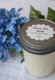 Lilac soy wax candle from HarmonyFarmCandles.etsy.com