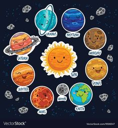 Sticker set of solar system with cartoon planets Vector Image Solar System Projects For Kids, Solar System Art, Solar System Crafts, Solar System Planets, Constellations, Planet Vector, Space Party, Space Crafts, Stars And Moon
