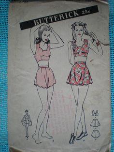 Early 1940s WWII Era Bombshell Bikini, Stunning Butterwick Swim Suit with Skirt Pattern 3753, Size 16 Bust 34, Uncut. $60.00, via Etsy.
