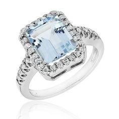 Aquamarine and Diamond Ring 1/3ctw