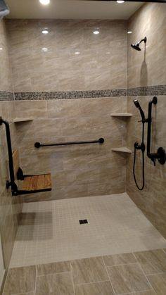 Aging-In-Place Remodeling is an accessible bathroom specialist. We have performed hundreds of bathroom remodels and the majority of which involved replacing an existing tub or shower with a new, barrier free shower. Many of our clients had bathtubs o Master Bathroom Shower, Bathroom Renos, Bathroom Tiling, Handicap Bathroom, Bathroom Remodeling, Bathroom Bin, Bathroom Showers, Disabled Bathroom, Bathroom Seat