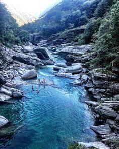 Swimming in Valle Verzasca, Switzerland