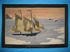 1930S - 40S LARGE GRENFELL MAT RUG SAILING BOAT NEWFOUNDLAND LABRADOR