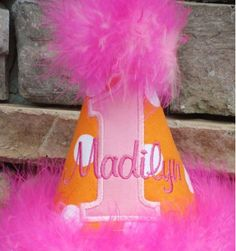 Hot pink and orange birthday hat