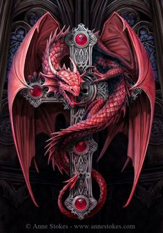 This is a marvelous canvas wall plaque depicting a Gothic Guardian dragon on a cross. Designed by the renowned artist Anne Stokes. A must have piece for any Anne Stokes fans. Anne Stokes, Dragon Illustration, Beautiful Dragon, Dragon's Lair, Bild Tattoos, Dragon Artwork, Dragon Pictures, Dragon Pics, Red Dragon