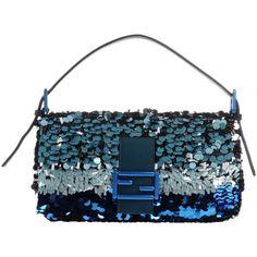 Fendi Handbag (€830) ❤ liked on Polyvore featuring bags, handbags, emerald green, man bag, genuine leather purse, blue leather handbags, fendi handbags and emerald green leather handbags