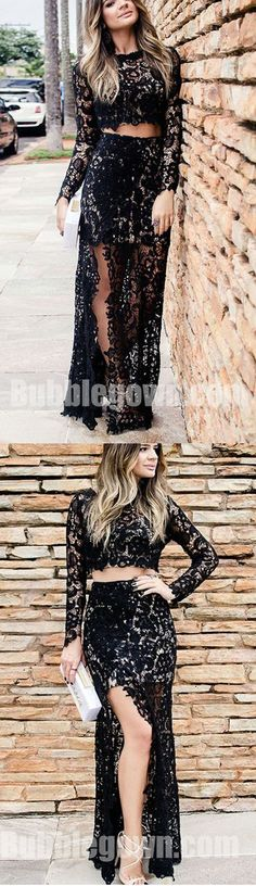Black Lace Long Sleeves Two Pieces Side Split Sexy Long Prom Dress, BGP058  #promdress #promdresses #longpromdress #longpromdresses