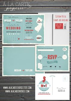 Modern Wedding Invitation and RSVP postcards   - Aqua blue Coral invitation - Calendar type invitation - State map invitation