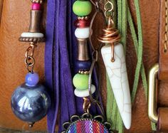 Boho Purse Charm, Tassel, Zipper Pull, Key Chain - Indian Fabric, Purple, Chartreuse Lime Green, Fuchsia PInk, Copper Ceramic, Stone, Suede