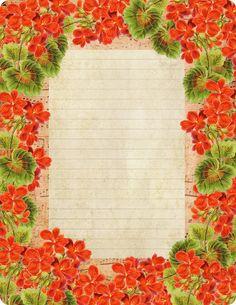 Grandma Hazel's Geraniums ~ free printable, lined stationery