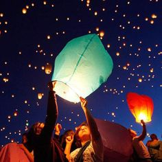 10pcs 14inch Multicolor Paper Chinese Lanterns Fire Sky Flying Paper Candle Wish Lamp for Birthday Wish Party Wedding Decoration