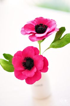 COUTURE CLAY - Vibrant Pink Anemones in a LOVE vase. $40.00, via Etsy.