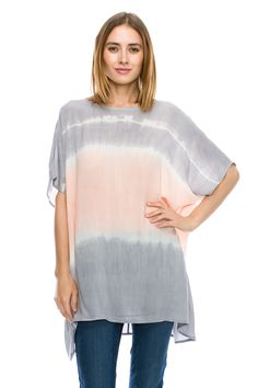 Apricot Two Tone Tie Dye Wide Fit Blouse Shirt