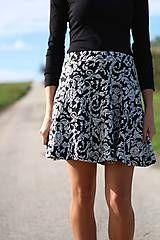 Sukne - Čierno biela sukňa teplejšia - 5942163_