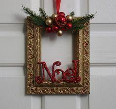 Cuadro marco Navidad guirnalda rojo verde y por badcandystudios